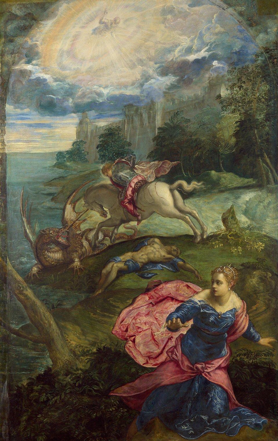 Święty Jerzy ismok Źródło: Jacopo Tintoretto, Święty Jerzy ismok , 1555–1558, olej na płótnie, domena publiczna.