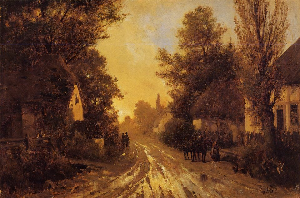 Wiejska droga jesienią Źródło: Zygmunt Sidorowicz, Wiejska droga jesienią, 1878, Lwowska Galeria Obrazów, domena publiczna.
