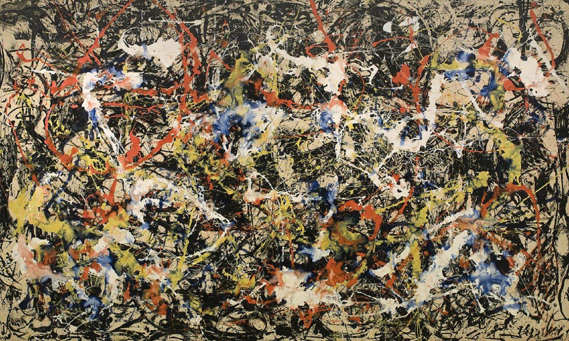 """Ilustracja przedstawia obraz Jacksona Pollocka """"Konwergencja"""". Jest to abstrakcja niegeometryczna. Malarz zastosował szeroką gamę kolorów, linii ikształtów, nakładając je na płótno metodą ociekania ipolewania farbą. Te linie, plamy, koła rozpryskane na powierzchni przypadkowo przekazują emocje artysty. Wśród przeplecionych motków iplam pigmentowych ozróżnicowanych barwach na powierzchni znajdują się przedmioty takie jak gwoździe imonety. Na przykład niewielka zapałka jest osadzona wfarbie wpobliżu środka dzieła."""