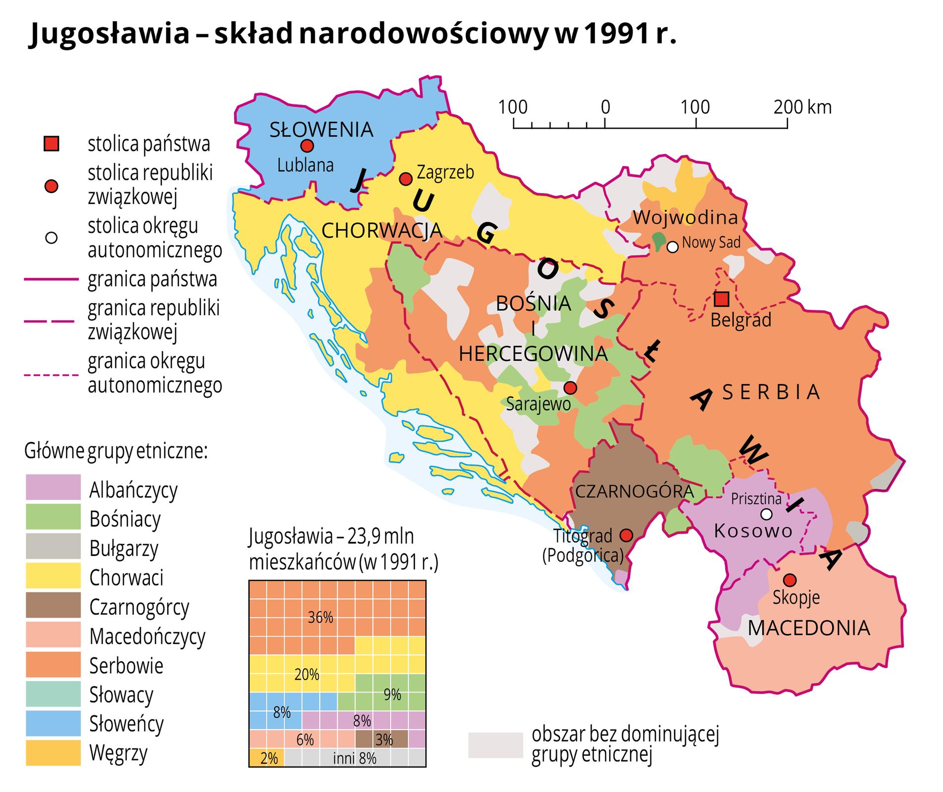 Ilustracja przedstawia skład narodowościowy Jugosławii wtysiąc dziewięćset dziewięćdziesiątym pierwszym roku. Mapa znajduje się zprawej strony, po lewej stronie umieszczono spis dziesięciu grup etnicznych, które na mapie oznaczono kolorami. Na dole ilustracji umieszczono kwadratowy diagram procentowy, na którym przedstawiono skład etniczny ludności wJugosławii wtysiąc dziewięćset dziewięćdziesiątym pierwszym roku. Wdiagramie użyto tych samych kolorów na oznaczenie poszczególnych grup etnicznych co na mapie. Zróżnicowanie kolorów na mapie ma odzwierciedlenie wzróżnicowanym składzie etnicznym ludności przedstawionym na diagramie. Trzydzieści sześć procent ludności Jugosławii, która wtysiąc dziewięćset dziewięćdziesiątym pierwszym roku liczyła prawie dwadzieścia cztery miliony, stanowili Serbowie, dwadzieścia procent – Chorwaci, po około osiem procent – Słoweńcy, Bośniacy iAlbańczycy, sześć procent – Macedończycy, trzy procent – Czarnogórcy, dwa procent – Węgrzy, pozostałe osiem procent – inni. Na mapie zaznaczono granicę państwa, granice republik związkowych iokręgów autonomicznych, opisano nazwę państwa, nazwy republik związkowych iokręgów autonomicznych. Oznaczono czerwonym kwadracikiem iopisano stolicę państwa. Oznaczono czerwonymi kółeczkami iopisano stolice republik związkowych. Oznaczono białymi kółeczkami iopisano stolice okręgów autonomicznych. Kolorem błękitnym zaznaczono wąski fragment Morza Adriatyckiego wzdłuż wybrzeży Chorwacji. Kolorami, jak już wspominano oznaczono grupy etniczne. Dominuje kolor pomarańczowy oznaczony wlegendzie jako Serbowie. Po lewej stronie mapy wlegendzie umieszczono wyjaśnienia znaków użytych na mapie: stolice państw, republik związkowych iokręgów autonomicznych, granice państw, republik związkowych iokręgów autonomicznych. Kolorami oznaczono następujące grupy etniczne: Albańczycy, Bośniacy, Bułgarzy, Chorwaci, Czarnogórcy, Macedończycy, Serbowie, Słowacy, Słoweńcy, Węgrzy.