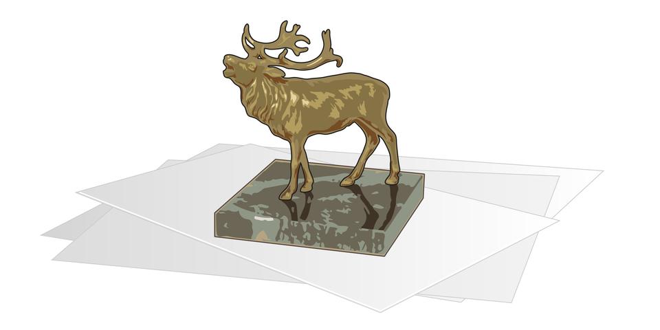 Na ilustracji widać statuetkę jelenia. Statuetka została postawiona na kartkach papieru.