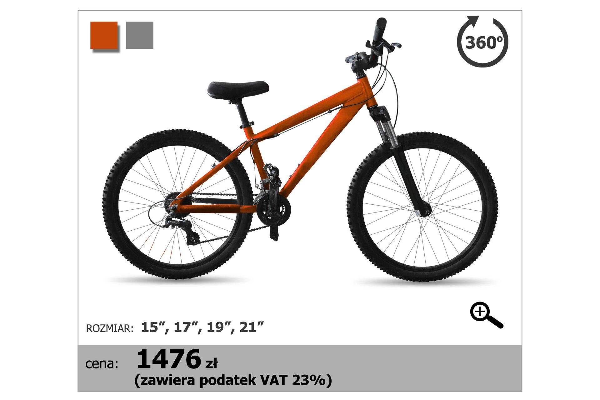 Rysunek roweru, którego cena wynosi 1476 złotych. Cena zawiera 23% podatek VAT.