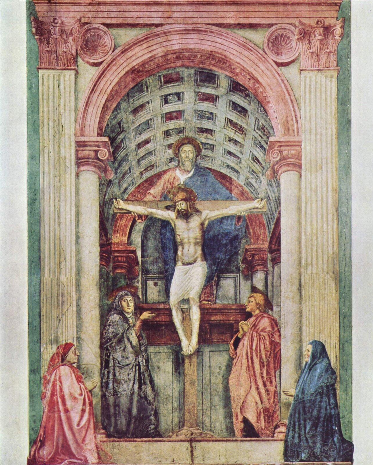 """Ilustracja przedstawia obraz Masaccio """"Święta Trójca"""". Wcentralnym punkcie znajduje się ukrzyżowany Chrystus. Nad nim góruje postać Boga Ojca ubranego wczerwono-niebieskie szaty, apomiędzy nimi wpostaci gołębicy - Duch Święty. Po obu bokach krzyża stoją osoby: Maria (po lewej stronie) iśw. Jan (po prawej stronie). Kobieta ma na sobie czarną szatę, która przykrywa również głowę. Prawą rękę wskazuje na Jezusa na krzyżu. Mężczyzna po prawej stronie jest wczerwonej szacie. Ręce ma złożone jak do modlitwy. Scena jest oddzielona wysokim progiem irzymskim łukiem triumfalnym. Głębie pomieszczenia akcentują dwie dodatkowe postacie klęczące przed bocznymi pilastrami: kobieta imężczyzna. Kobieta ubrana jest wgranatowy strój izchustą na głowie wtym samym kolorze. Mężczyzna ma czerwony strój idługą czapkę na głowie zwisającą do ramion."""