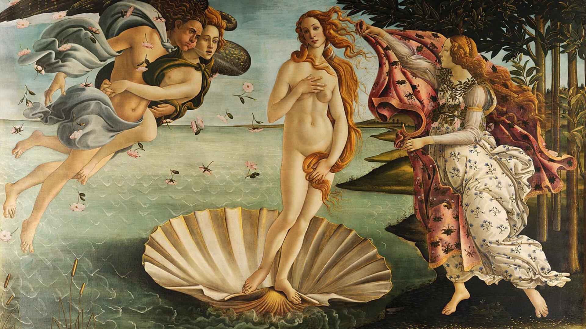 """Obraz pt. """"Narodziny Wenus"""" przedstawia Wenus stojącą nago wmuszli. Po lewej stronie unoszą się półnagie postaci mężczyzny ikobiety złączone uściskiem. Po prawej znajduje się bogini Hera wbiałej sukni wkwiaty."""