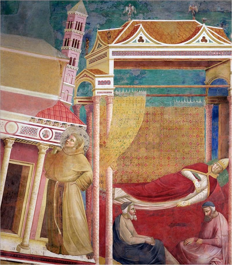 We śnie papież widzi Franiszka podtrzymującego walącą się bazylikę laterańską. Dzięki temu, że zobaczył wśw. Franciszku kogoś zdolnego uratować Kościół,wydał zgodę na działalność jego zakonu: franciszkanów. We śnie papież widzi Franiszka podtrzymującego walącą się bazylikę laterańską. Dzięki temu, że zobaczył wśw. Franciszku kogoś zdolnego uratować Kościół,wydał zgodę na działalność jego zakonu: franciszkanów. Źródło: Giotto di Bondone, 1288-1292, fresk, domena publiczna.