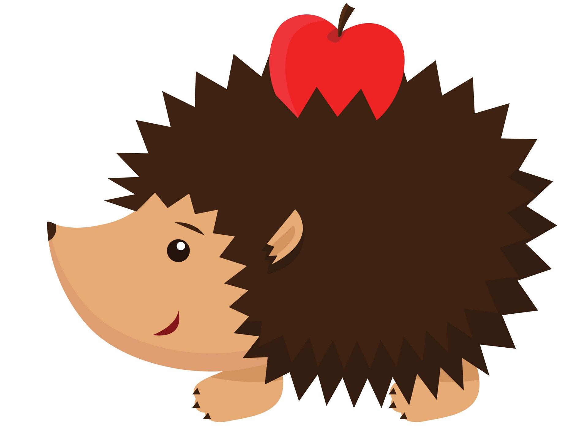 Ilustracja przedstawia sylwetkę ciemnobrązowego, kolczastego jeża zbajki. Na kolcach ugóry ma czerwone jabłko. Pyszczek zlewej jest uśmiechnięty.