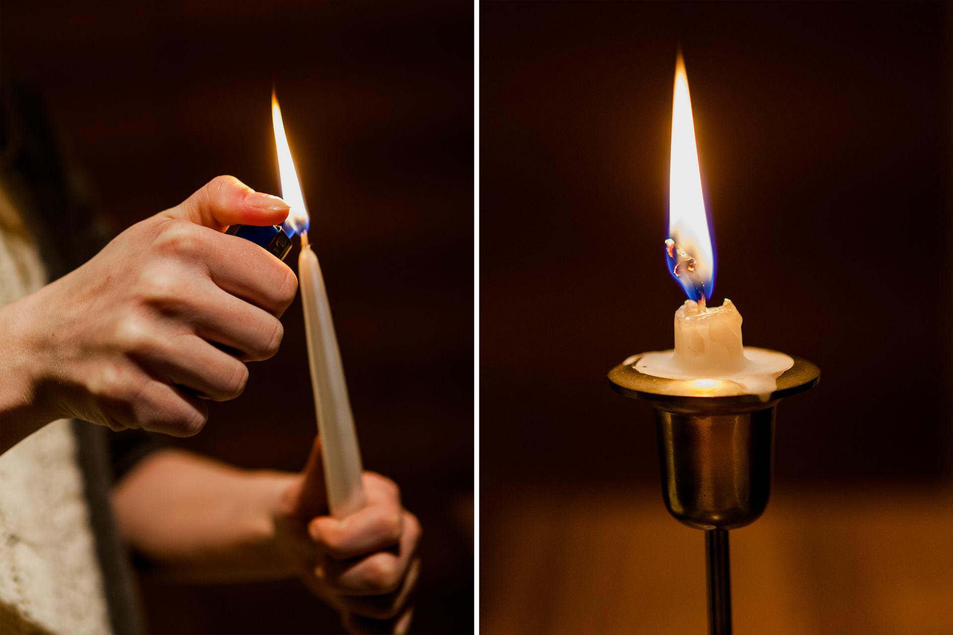 Ilustracja prezentuje dwa zdjęcia umieszczone obok siebie. Na zdjęciu zlewej strony dłoń zapala świecę zapalniczką. Na zdjęciu zprawej strony ogarek tej samej świecy dopala się na świeczniku.