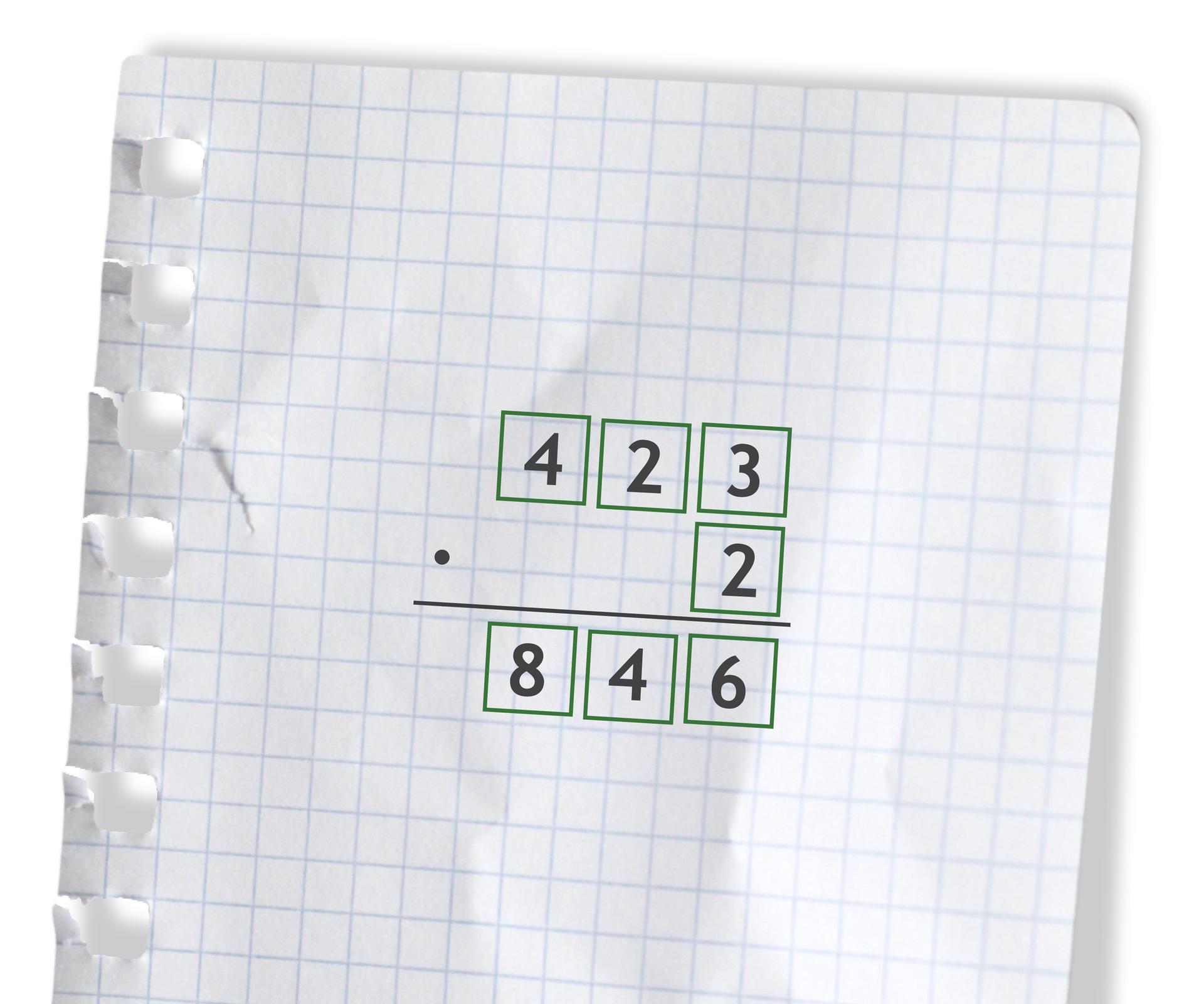 Przykład: 423 razy 2 =846. Rozwiązanie zadania podpunkt a.