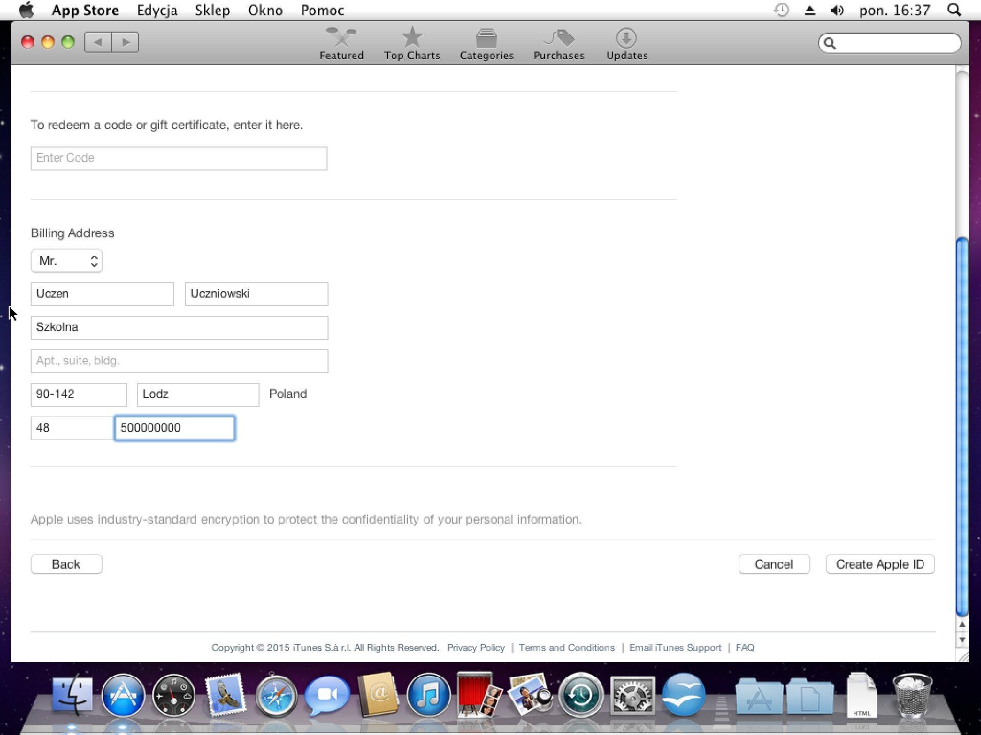 Zrzut okna 3 procesu zakładania konta wApp Store