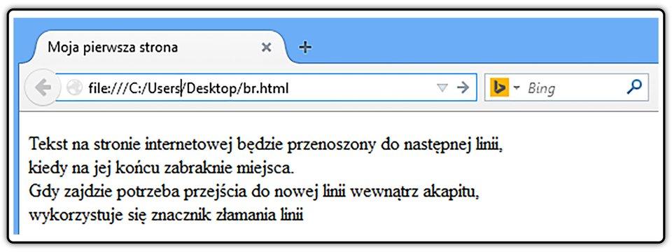 Zrzut widoku strony dokumentu HTML ztekstem umieszczonym pomiędzy znacznikami początku ikońca akapitu
