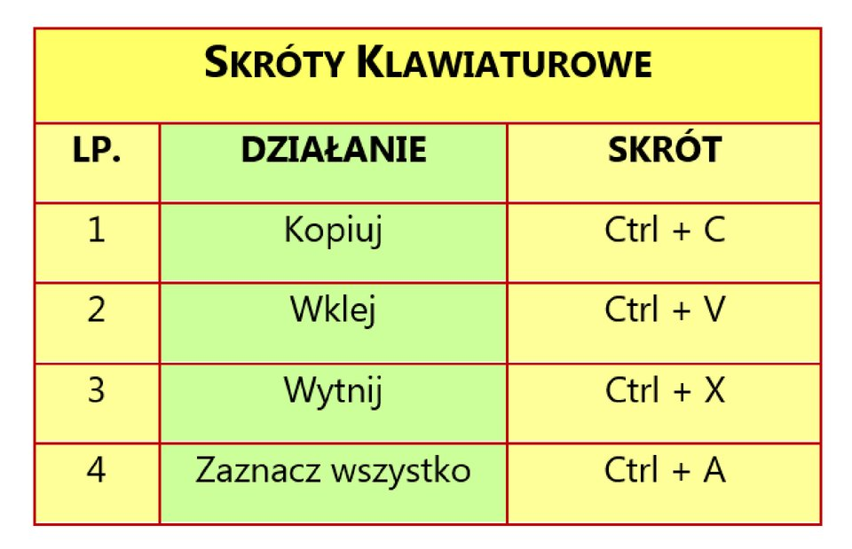 Zrzut tabeli: Skróty klawiaturowe