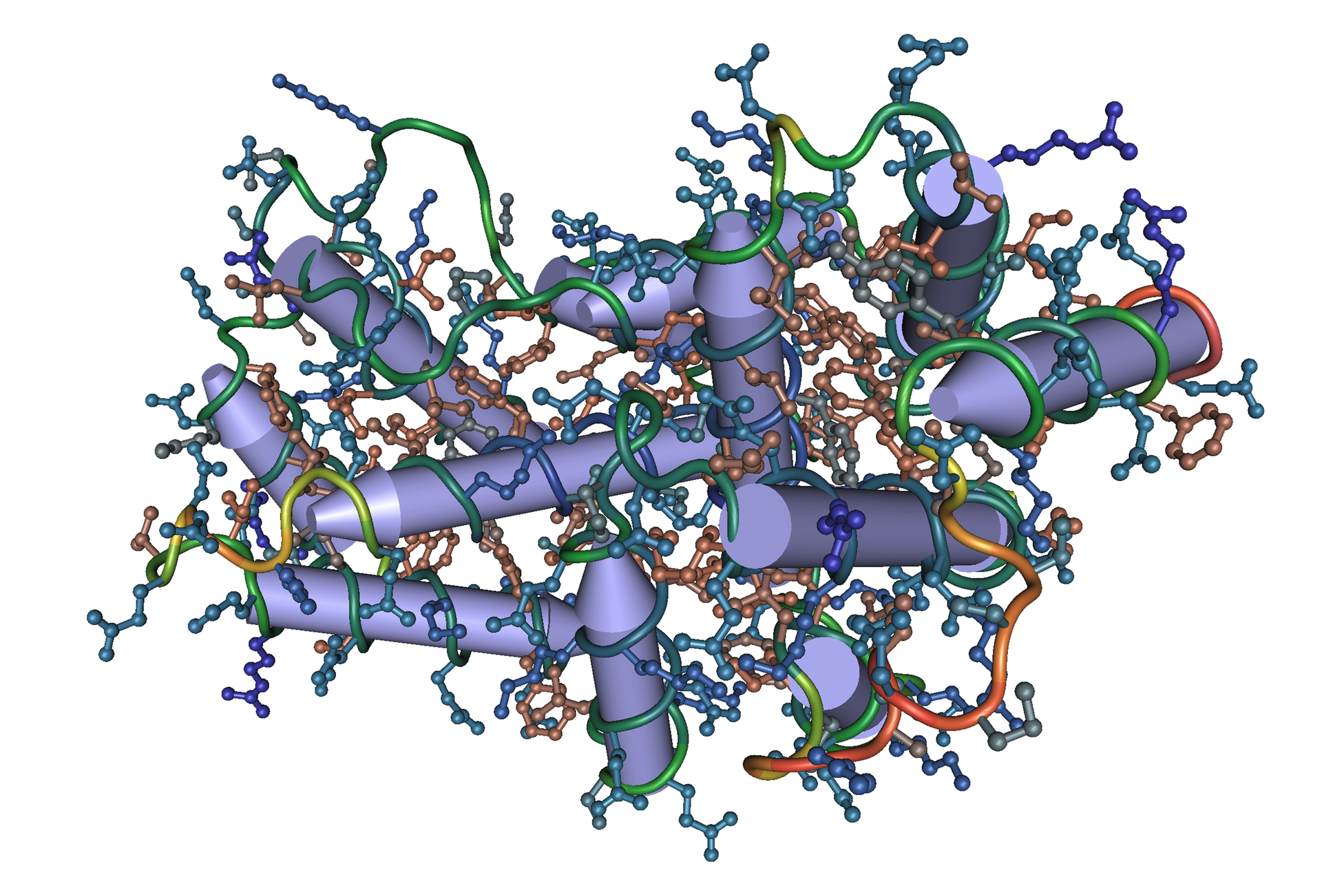 Ilustracja przedstawia fioletowe zaostrzone walce, oplecione kolorową siateczką zkulkami wwęzłach. To model przestrzenny struktury interferonu alfa.