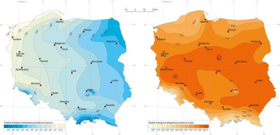 Średnie temperatury powietrza wPolsce wstyczniu ilipcu