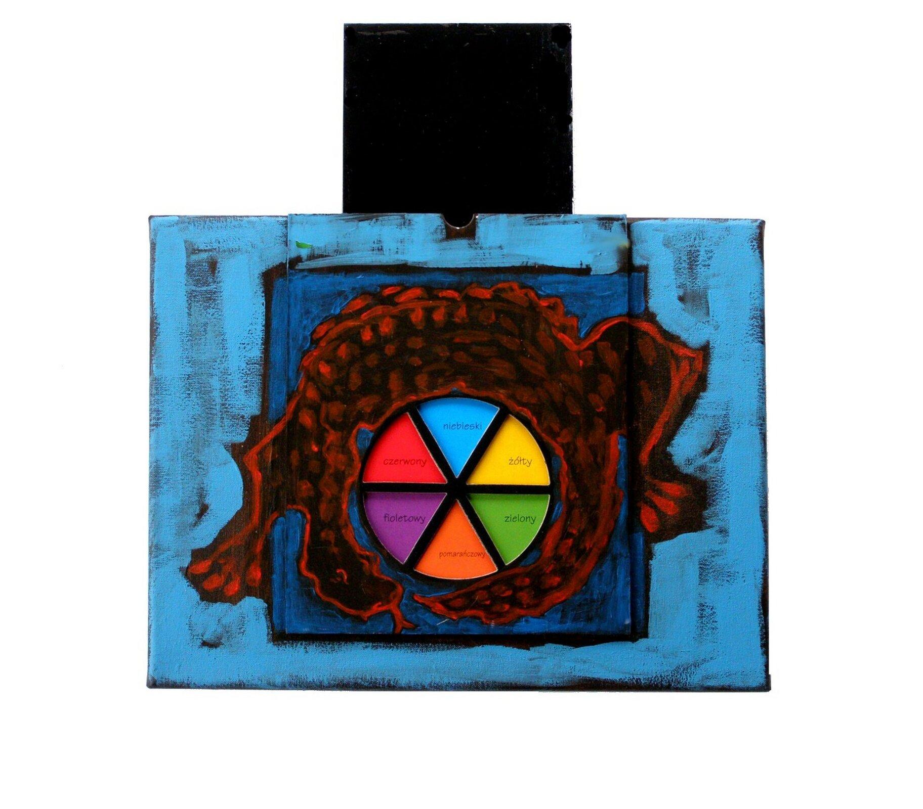 """Ilustracja przedstawia obraz """"Autoportret psychologiczny IV"""" autorstwa Barbary Kaczorowskiej. Praca składa się zdwóch elementów: prostokątnego, kolorowego obrazu oraz ustawionego nad nim czarnego mniejszego prostokąta. Na przecierkowo malowanym, błękitnym tle większego obrazu znajduje się niebieski kwadrat, na którym została namalowana czerwonym konturem zwinięta wokół koła barw jaszczurka. Koło barw, dzięki swym czystym kolorom zdecydowanie wybija się na pierwszy plan kompozycji. Każde zsześciu pól jest odpowiednio opisane nazwami barw: niebieski, żółty, zielony, pomarańczowy, fioletowy iczerwony."""