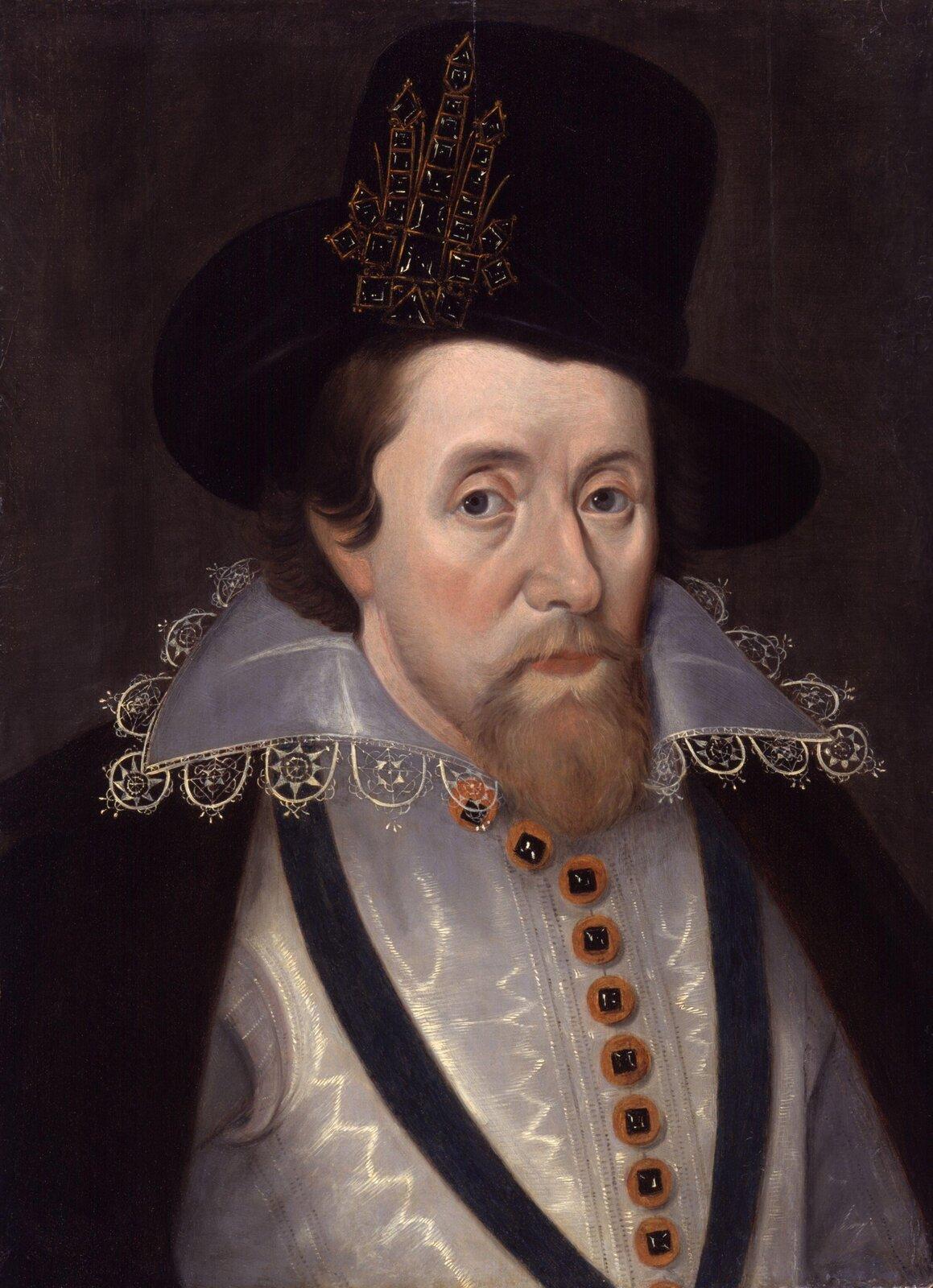 Jakub IPortretJakuba Iz1606 r., azatem wkrótce po wstąpieniu na tron Anglii. Źródło: John de Critz the Elder, Jakub I, National Portrait Gallery, domena publiczna.