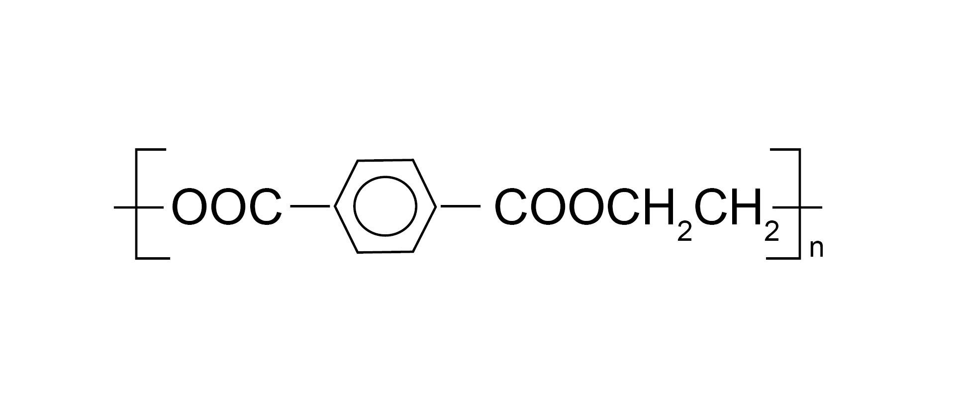 Ilustracja pokazuje wzór sumaryczny politereftalanu etylenu.