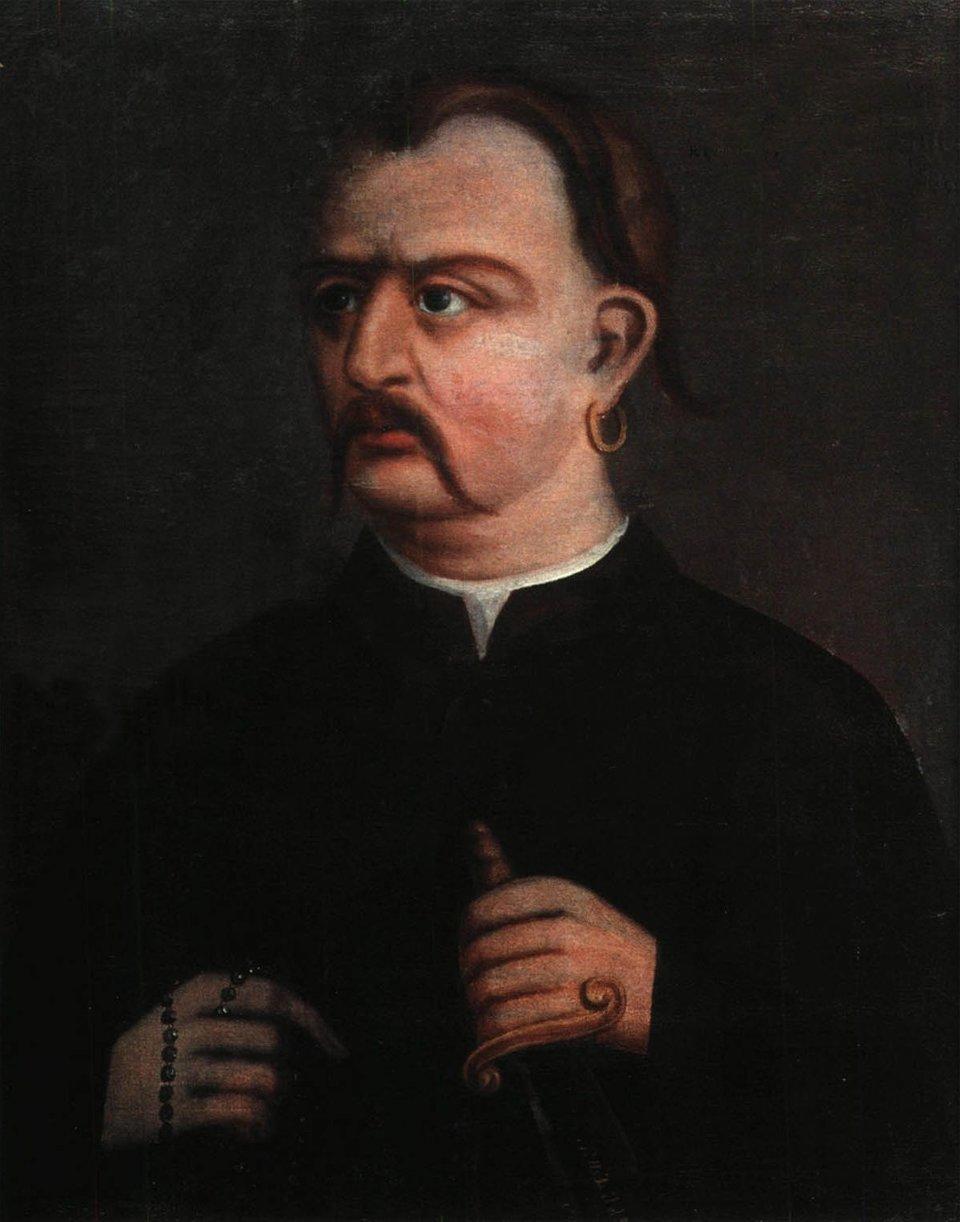 Podobizna Maksima Żeleźniaka Maksym Żeleźniak (ur. ok. 1740, zm. po 1768) – kozak zaporoski. Od 1767 r. był sługą klasztornym wMonasterze Motronińskim. W1768 r. został jednym zprzywódców koliszczyzny - najpierw został wybrany pułkownikiem, anastępnie hetmanem wojska hajdamackiego.Żeleźniak wraz zIwanem Gontą byli bezpośrednio odpowiedzialni za tzw. rzeź humańską. Po tym wydarzeniu został ogłoszony przez uczestników koliszczyzny księciem smilskim ihetmanem kozackim. Schwytany przez wojska rosyjskie, nie został wydany Polakom, co uchroniło go przed losem zgotowanym Goncie przez Branickiego. Został jednak skazany na dożywotnią katorgę iwywieziony na Syberię, gdzie bardzo szybko zmarł (jest to prawdopodobne, gdyż zaraz po ujęciu wymierzono mu karę chłosty). Istnieje jednak inna wersja jego dalszych losów, wmyśl której udało mu się zzesłania zbiec, przy czym jedni twierdzą, że został ujęty, ainni, że nie inawet wziął udział wpowstaniu Jemieljana Pugaczowa wlatach 1773-1775. Źródło: Podobizna Maksima Żeleźniaka, koniec XVIII w., Regionalne Muzeum Sztuki im. Nikanora Onatsky'ego wSumach, domena publiczna.