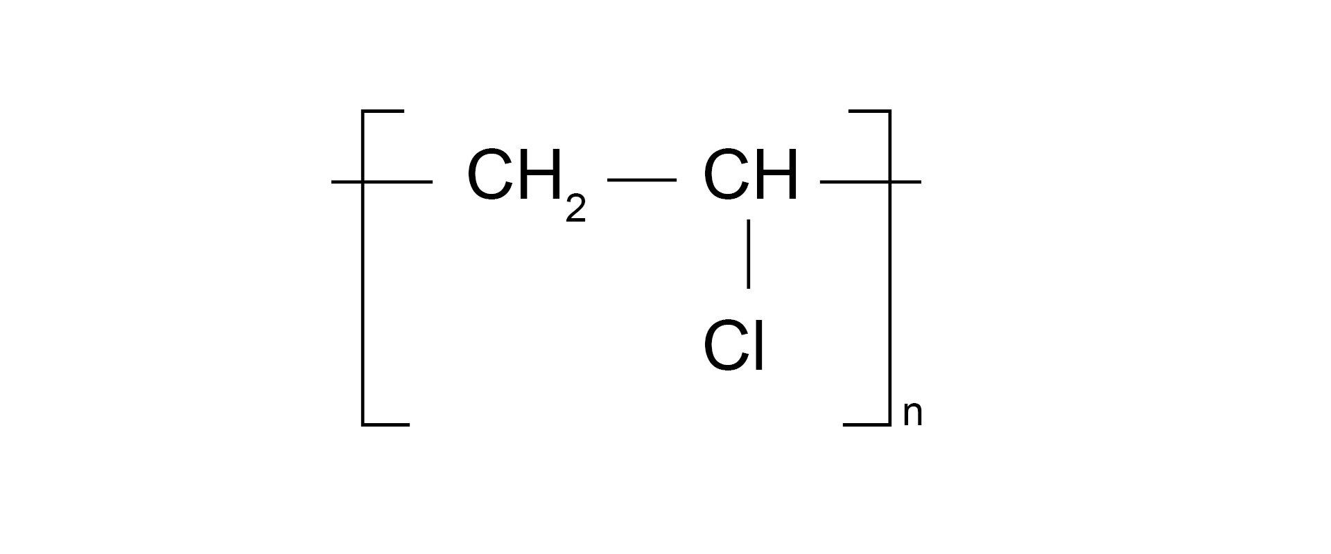 Ilustracja pokazuje wzór sumaryczny polichlorku winylu.