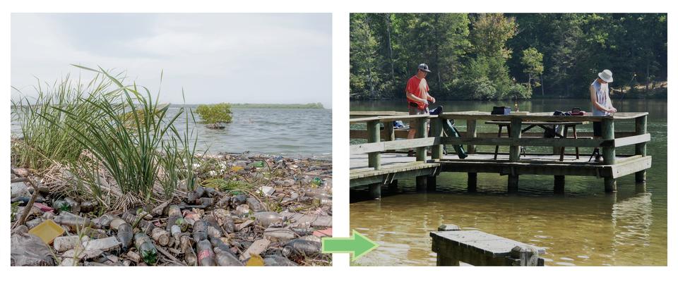 Fotografia po lewej stronie prezentuje zaniedbamy brzeg nad jeziorem. Obok to samo miejsce zagospodarowane przez człowieka. Widoczny pomost na którym stoją wędkarze łowiący ryby.