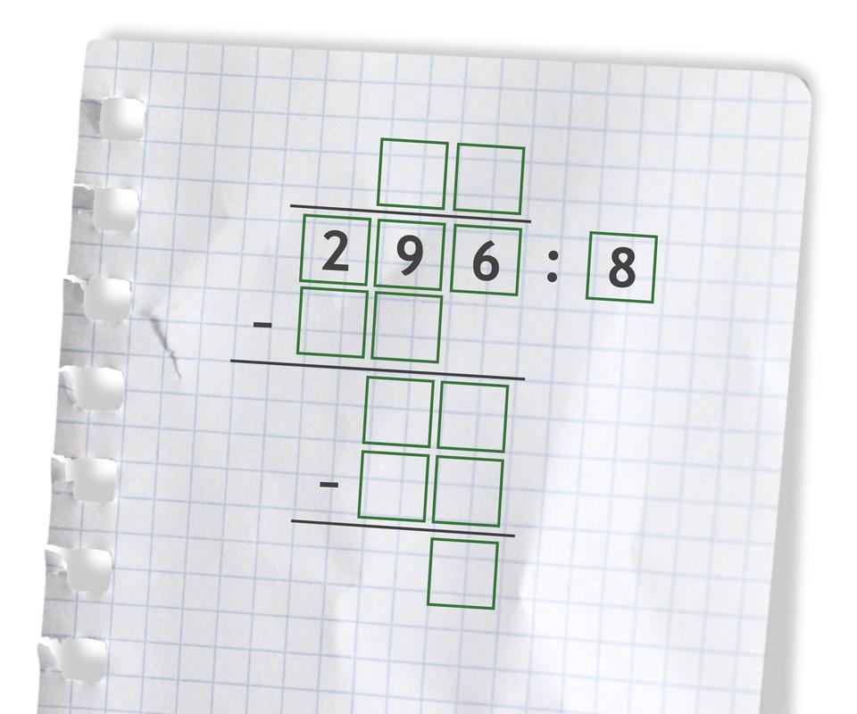 Miejsce na wykonanie działania: 296 dzielone przez 8.