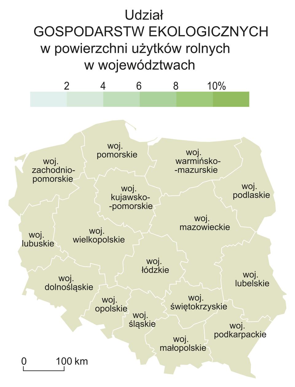 Na ilustracji mapa konturowa Polski zpodziałem na województwa. Nad nią legenda zkolorami. Kolory jasne niski udział gospodarstw ekologicznych wpowierzchni użytków rolnych (2%). Kolory ciemne większy udział gospodarstw ekologicznych wpowierzchni użytków rolnych (10%).