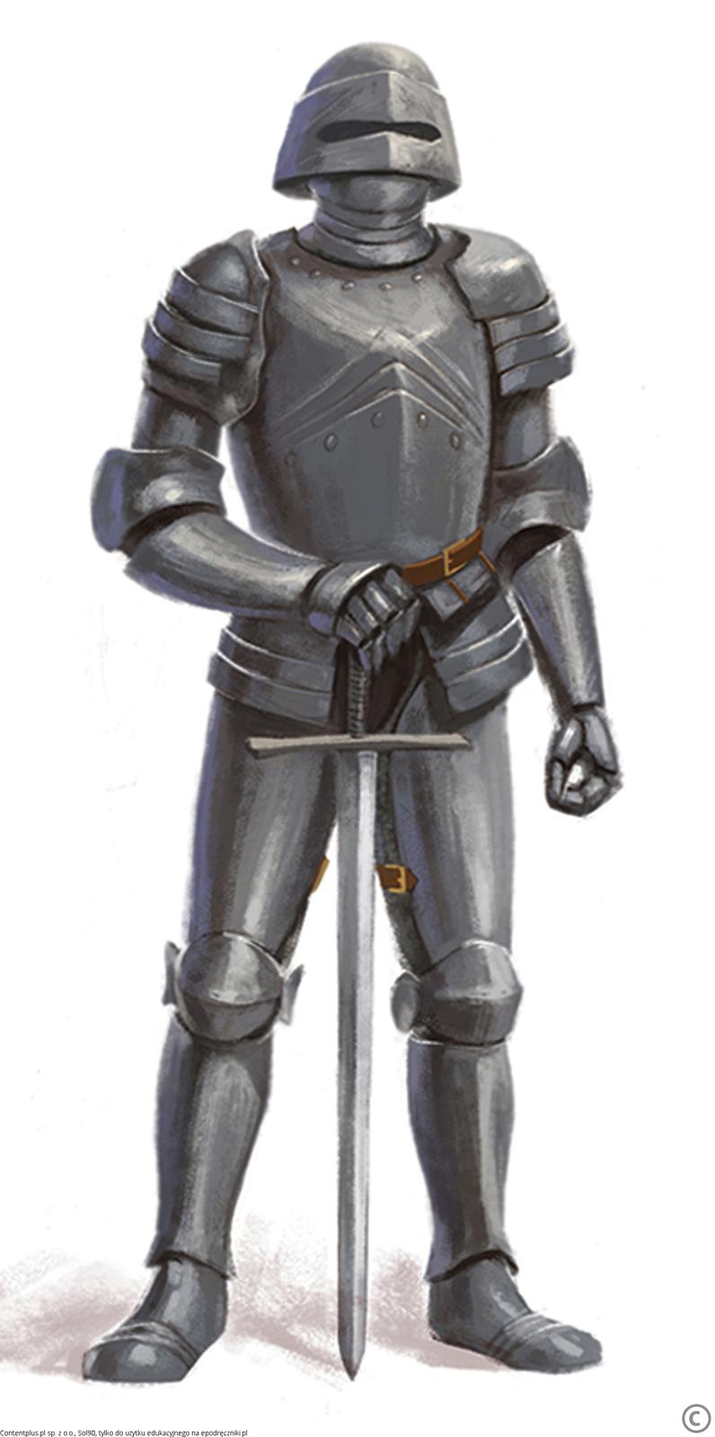 Rycerz wszarej zbroi stoi trzymając rękę na mieczu, którego czubek opiera się na ziemi. Wszystkie części ciała rycerza są osłonięte metalowymi blachami.