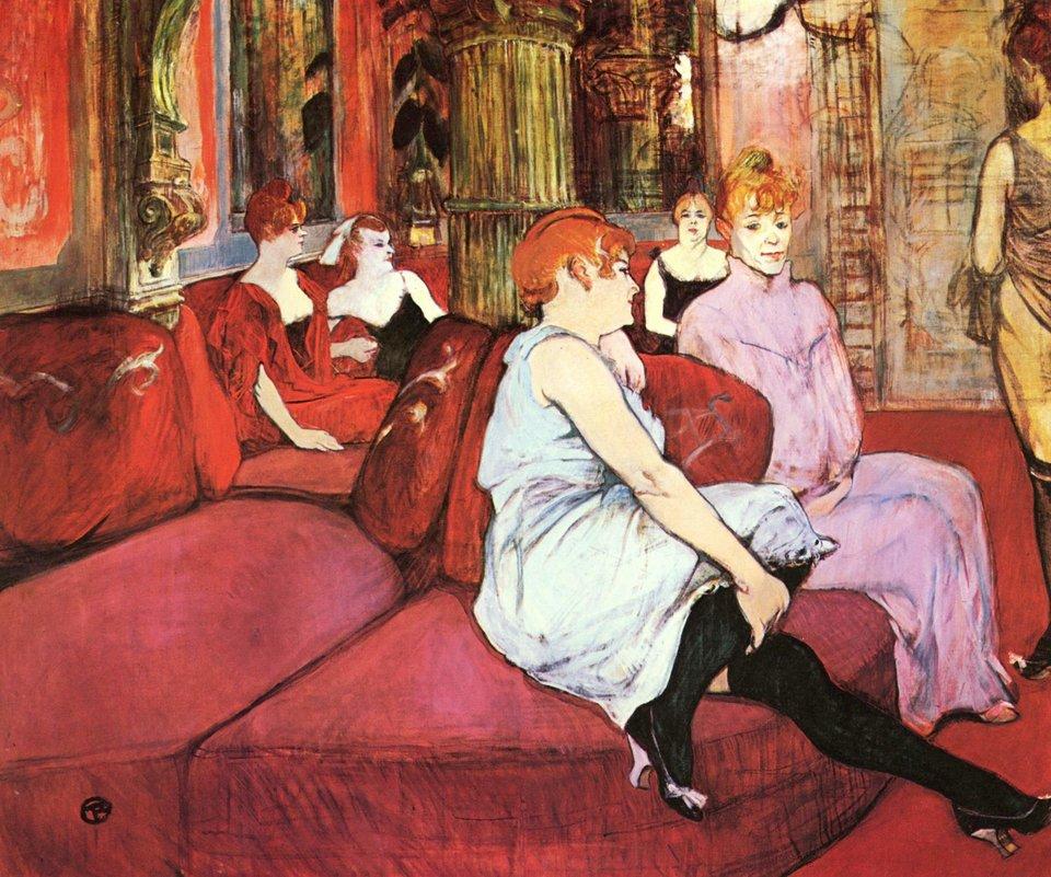 Wsalonie przy rue des Moulins Źródło: Henri de Toulouse-Lautrec, Wsalonie przy rue des Moulins , 1894, olej na płótnie, Musée Toulouse-Lautrec, domena publiczna.