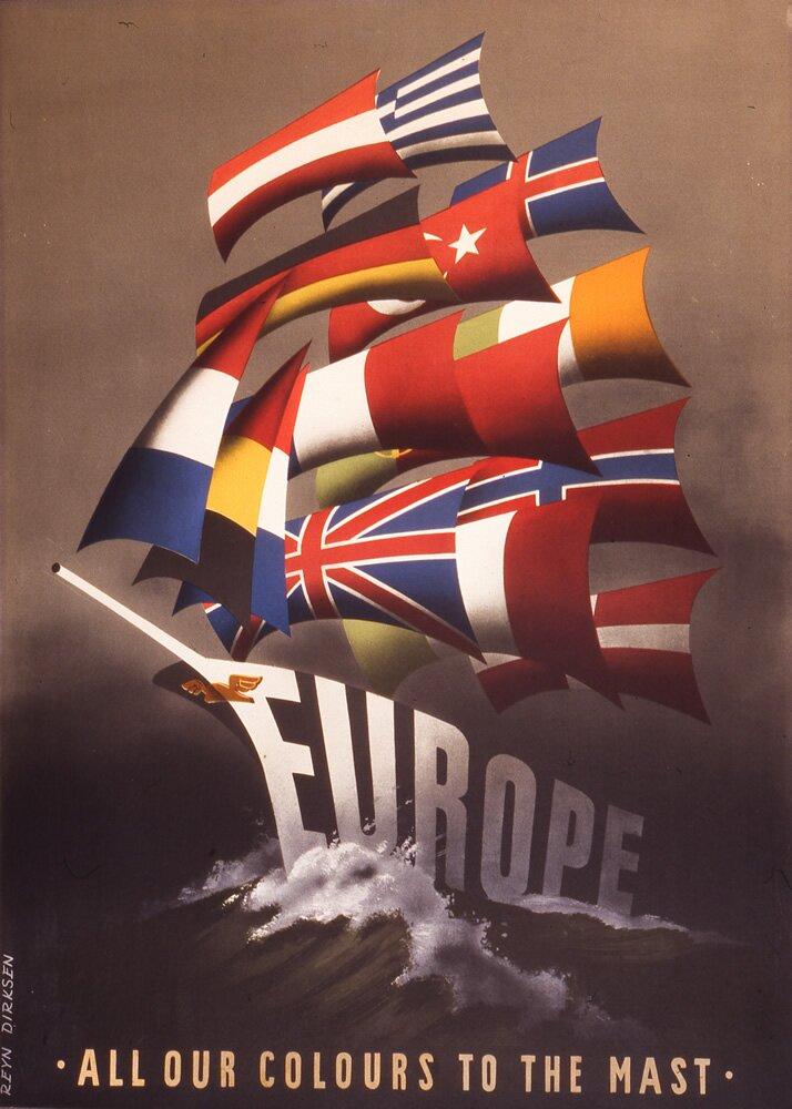 Plakat promując Plan Marshalla Źródło: Reijn Dirksen, Plakat promując Plan Marshalla, 1950, Economic Cooperation Administration, domena publiczna.