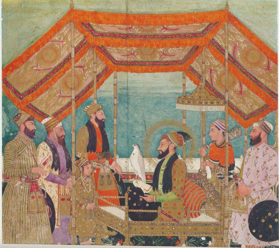 Miniatura pokazująca władcę Aurangazeba na tronie 2 poł. XVII w. Miniatura pokazująca władcę Aurangazeba na tronie 2 poł. XVII w. Źródło: domena publiczna.