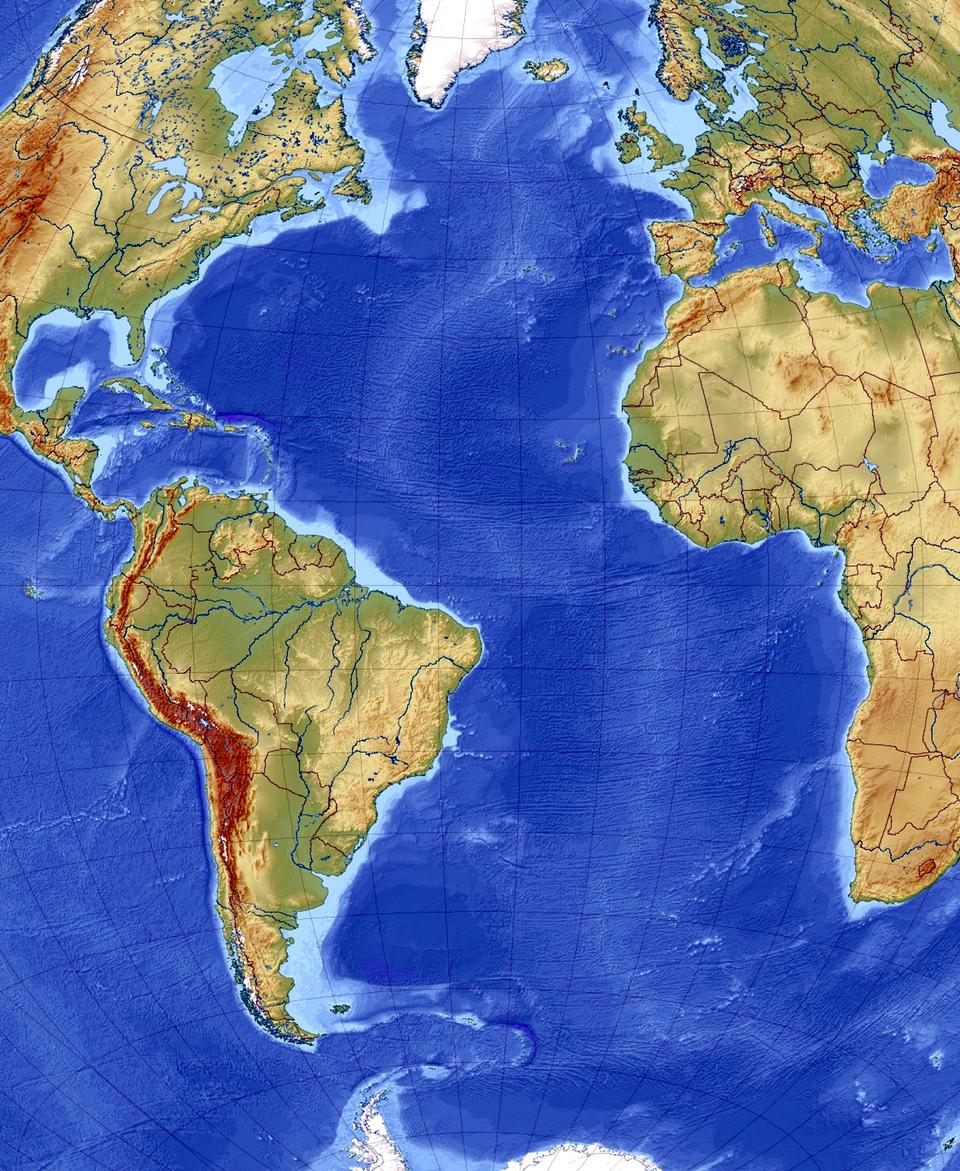 Ilustracja, to fragment mapy świata. Wlewej części zanjduje się Ameryka Północna iPołudniowa. Wcentralnej części jest Ocean Atlantycki. Zprawej strony są fragmenty Europy iAfryki.