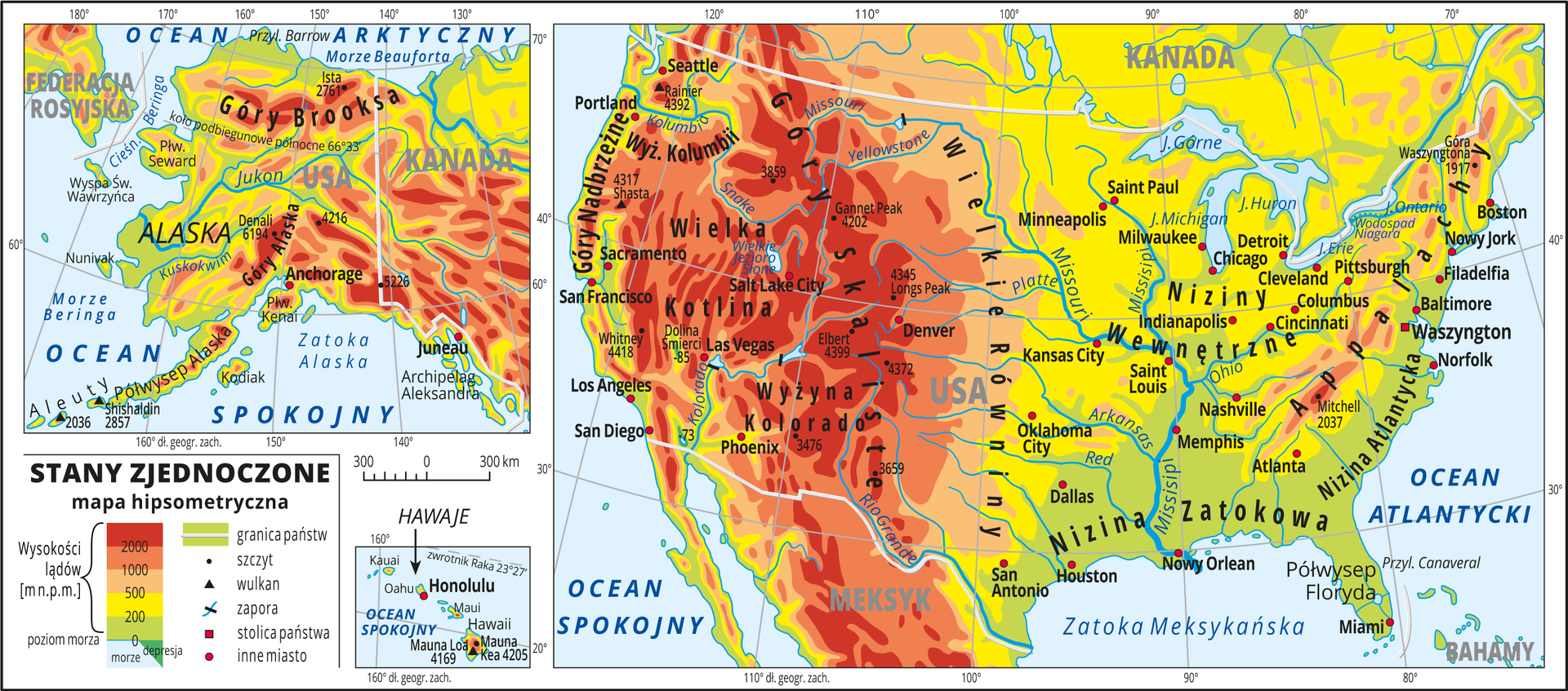 Ilustracja przedstawia mapę hipsometryczną Stanów Zjednoczonych Ameryki Północnej. Mapa główna mieści obszar Stanów Zjednoczonych, na osobnych mapkach Alaska iHawaje. Wobrębie lądów występują obszary wkolorze zielonym, żółtym, pomarańczowym iczerwonym. Na zachodnich wybrzeżach Stanów Zjednoczonych dominują pasma górskie oprzebiegu południkowym. Rozległe niziny wokół największych rzek. Morza zaznaczono kolorem niebieskim. Na mapie opisano nazwy półwyspów, wysp, nizin, wyżyn ipasm górskich, mórz, zatok, rzek ijezior. Oznaczono iopisano stolice igłówne miasta. Opisano nazwy państw. Oznaczono czarnymi kropkami iopisano szczyty górskie. Trójkątami oznaczono wulkany ipodano ich nazwy iwysokości. Mapa pokryta jest równoleżnikami ipołudnikami. Dookoła mapy wbiałej ramce opisano współrzędne geograficzne co dziesięć stopni. Wlegendzie umieszczono iopisano znaki użyte na mapie.