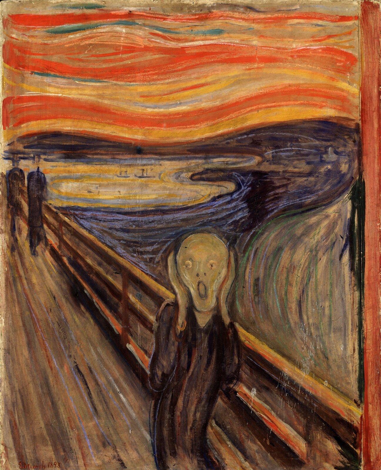 """Ilustracja przedstawia obraz Edwarda Muncha """"Krzyk"""". Ukazuje samotną postać stojącą na tle mostu. Namalowana falistą linią postać trzyma się za głowę. Wtle idą dwie inne osoby. Tło tworzą faliste linie - żółto-niebieski ląd oraz czerwono-pomarańczowe niebo. Most namalowany jest diagonalnymi, czyli ukośnymi pociągnięciami pędzla."""