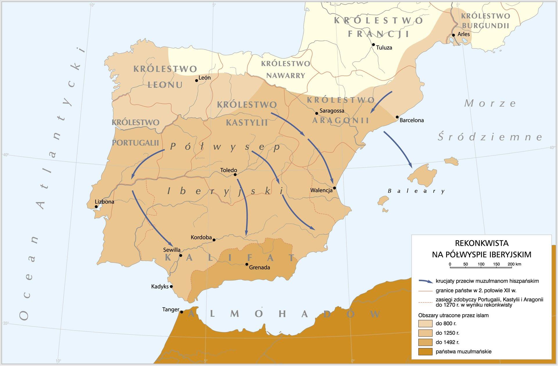 mapa - Rekonkwista na Półwyspie Iberyjskim