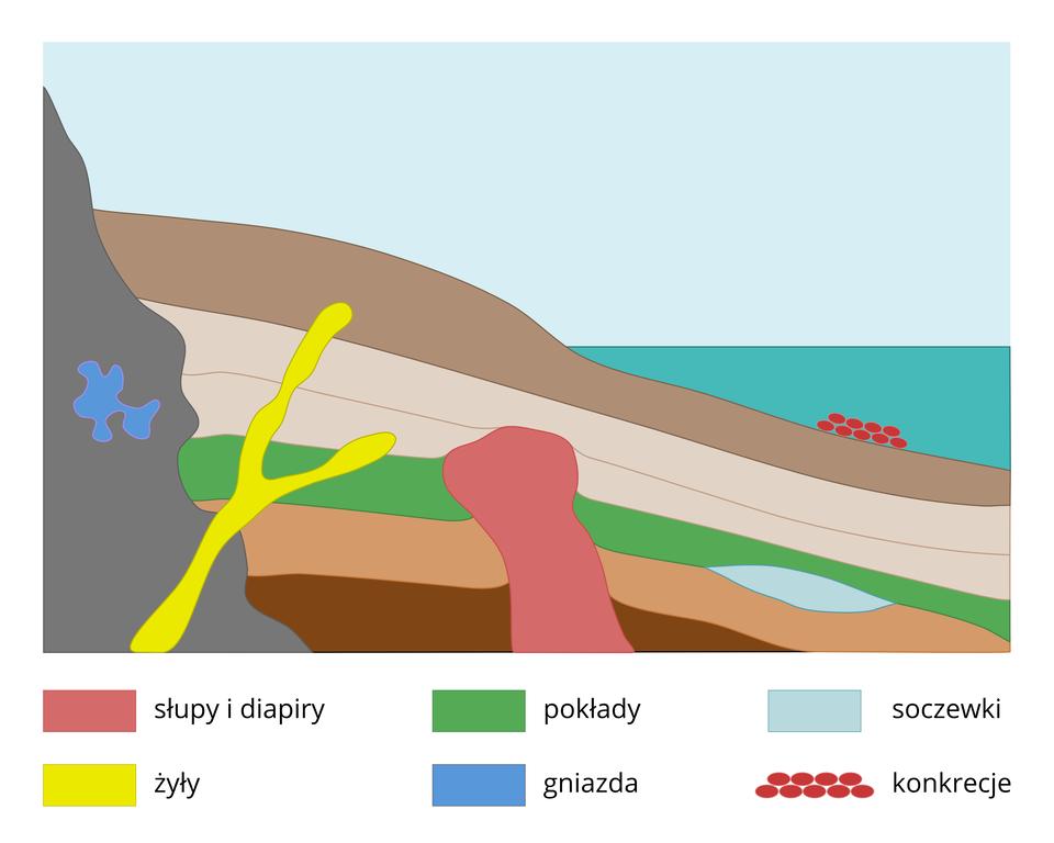 Na ilustracji kolorowy schemat, kilka brązowych warstw ziemi, morze. Wwarstwach umieszczone irozróżnione kolorami rodzaje złóż: słupy idiapory, żyły, pokłady, gniazda, soczewki ikonkrecje.