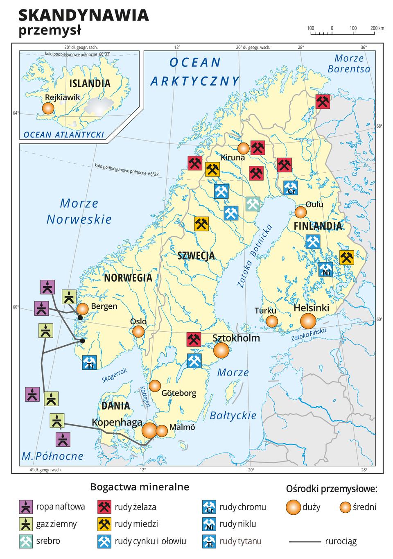 Ilustracja przedstawia mapę gospodarczą Skandynawii. Na mapie sygnaturami przedstawiono bogactwa mineralne wydobywane głównie na północy regionu: rudy tytanu, rudy niklu, rudy cynku iołowiu, rudy chromu, rudy miedzi, rudy żelaza , srebro oraz gaz ziemny iropę naftową (na Morzu Północnym. Oznaczono ośrodki przemysłowe, na przykład: Malmö, Göteborg, Sztokholm, Kopenhaga, Bergen, Oslo, Helsinki położone głównie wpołudniowej części regionu. Mapa zawiera siatkę południków irównoleżników. Dookoła mapy wbiałej ramce opisano współrzędne geograficzne co dziesięć stopni.