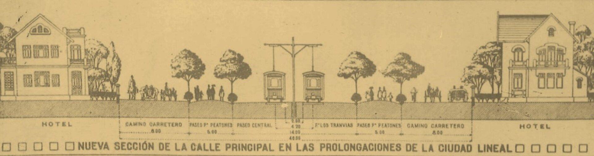 Ilustracja interaktywna przedstawia widok na przekrój głównej arterii komunikacyjnej. Po lewej iprawej stronie rysunku znajdują się dwa budynki, obok nich rosną drzewa. Wśrodkowej części ilustracji jest ulica, na której stoją dwa tramwaje. Wdolnej części znajdują się napisy. Na ilustracji umieszczony jest niebieski pulsujący punkt. Po kliknięciu kursorem myszki wpunkt wyświetlą się dodatkowe informacje.