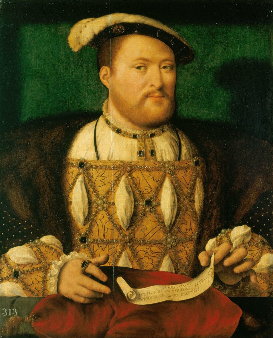 PortretHenryka VIII zokoło 1531 r. Obraz obecnie przypisywany Joosowi van Cleve, ale niegdyś sądzono, że został namalowany przez niemieckiego artystę Hansa Holbeina Młodszego lub francuskiego François'a Clouet'a. PortretHenryka VIII zokoło 1531 r. Obraz obecnie przypisywany Joosowi van Cleve, ale niegdyś sądzono, że został namalowany przez niemieckiego artystę Hansa Holbeina Młodszego lub francuskiego François'a Clouet'a. Źródło: Joos van Cleve, ok. 1530-1535, olej na płótnie, Royal Collection, domena publiczna.