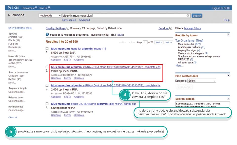 Ilustracja przedstawia kolejny zrzut ekranu. Czerwona ramka wskazuje właściwe pole do kliknięcia. Polecenie nr 5 opisuje podobny sposób postępowania dla albuminy szczura.
