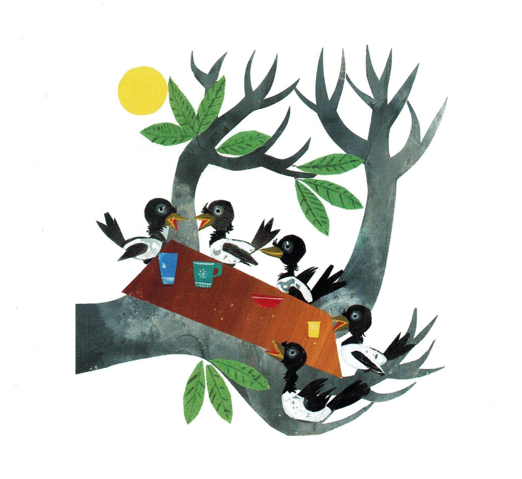 """Ilustracja przedstawia grafikę, zksiążki dla dzieci Czesława Janczarskiego """"Przyjaciele Misia Uszatka"""". ukazującą pięć ptaków siedzących przy stole ustawionym na gałęzi drzewa zliśćmi."""