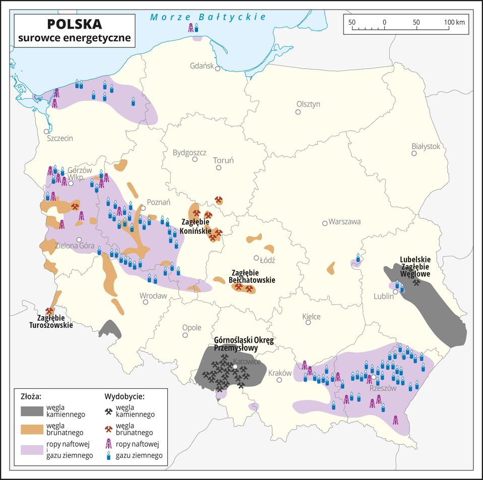 Ilustracja przedstawia mapę Polski zpodziałem na województwa. Oznaczono iopisano główne miasta. Na mapie przedstawiono występowanie iwydobycie surowców energetycznych.Kolorem szarym zaznaczono obszary, na których występują złoża węgla kamiennego, akolorem brązowym obszary, na których występują złoża węgla brunatnego. Kolorem fioletowym zaznaczono obszary, na których występują złoża ropy naftowej igazu ziemnego. Za pomocą sygnatur oznaczono miejsca ich wydobycia. Zasadniczo pokrywają się one zmiejscem występowania złóż.Opisano nazwy okręgów przemysłowych.Złoża węgla kamiennego występują wwojewództwie śląskim, tam też jest największe wydobycie. Drugim obszarem dużego występowania, ale mniejszego wydobycia złóż węgla kamiennego jest Lubelskie Zagłębie Węglowe.Złoża węgla brunatnego zlokalizowane są wwielu miejscach wwojewództwie lubuskim, wielkopolskim, dolnośląskim iłódzkim ale wydobycie odbywa się tylko wkilku rejonach, jak Zagłębie Bełchatowskie, Konińskie iTuroszowskie.Ropa naftowa igaz ziemny występują isą wydobywane wwojewództwie podkarpackim, lubuskim, wśrodkowej części województwa wielkopolskiego, północnej części województwa zachodnio-pomorskiego oraz wpółnocnej części województwa dolnośląskiego. Przeważa wydobycie gazu ziemnego. Na dole mapy wlegendzie opisano znaki użyte na mapie.