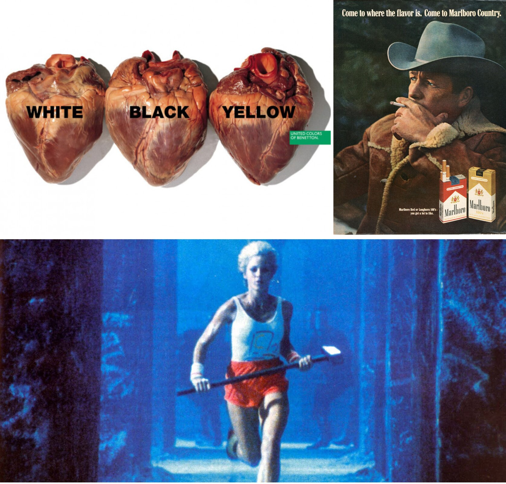 """Ilustracja zawiera trzy reklamy. Reklamę United Colors Of Benetton z1996 przedstawiające trzy identyczne serca, na jednym znich jest napis """"white"""", na drugim """"black"""", na trzecim """"yellow"""". Reklamę, przedstawiającą mężczyznę palącego papierosa idwa opakowania papierosów """"Malboro"""". Trzecia reklama przedstawia uciekająca kobietę, jest to kadr zreklamy Apple z1984roku."""