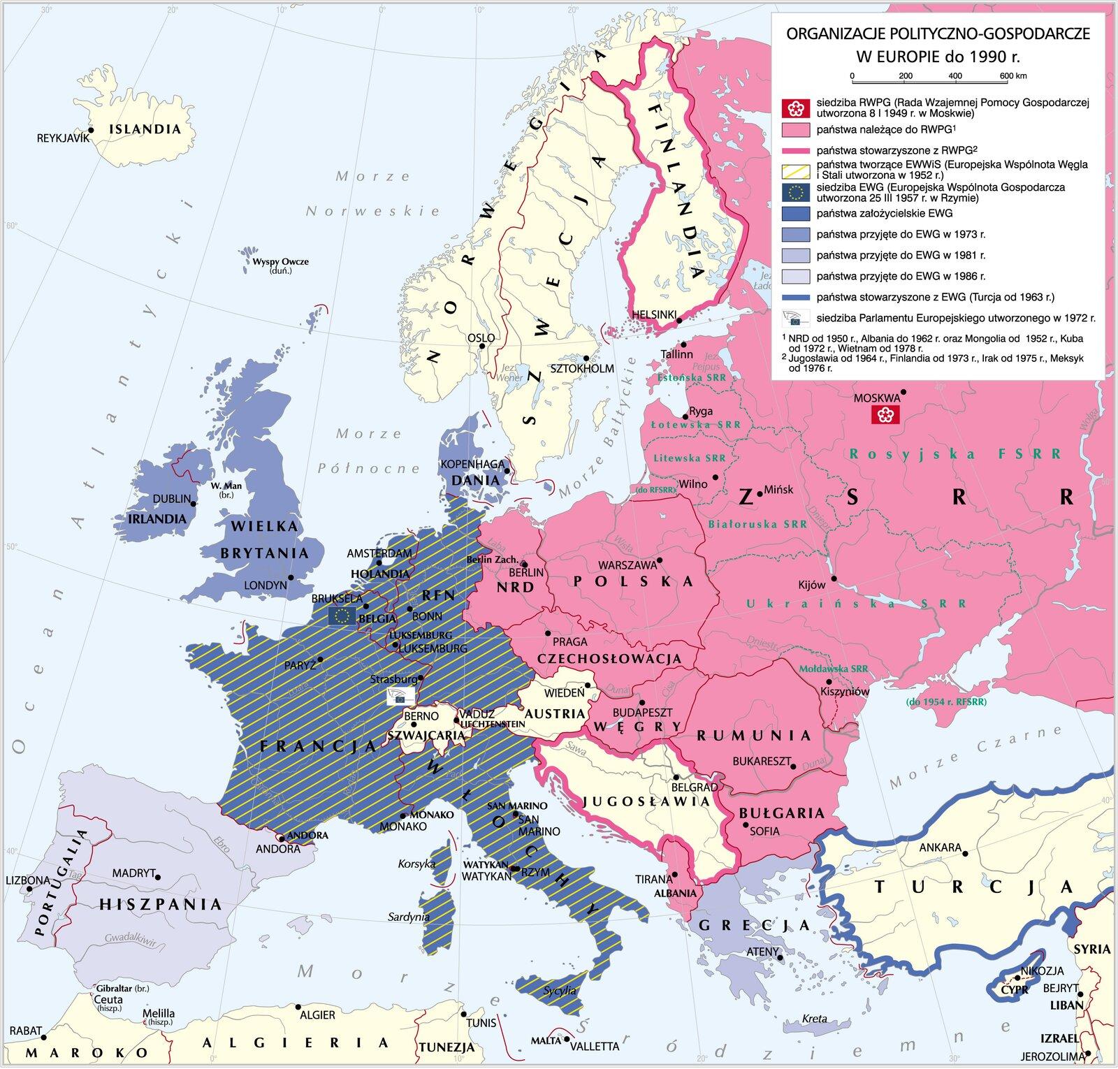 mapa -organizacje polityczno-gospodarcze wEuropie do 1990 r.