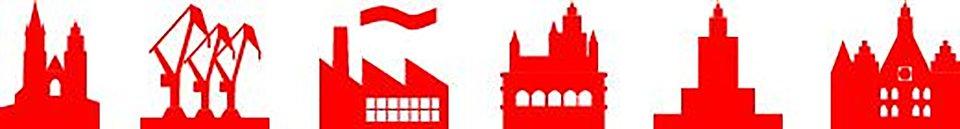 Projekty ikon, jednolicie wypełnione czerwone symbole charakteryzujące charakter dużych polskich miast