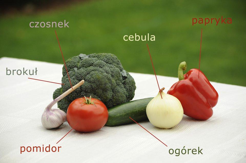 Fotografia przedstawiająca warzywa zpodpisami