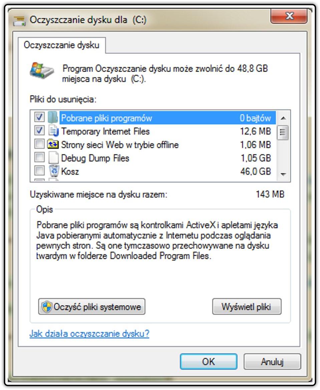 Zrzut okna: Oczyszczanie dysku wsystemie operacyjnym Windows