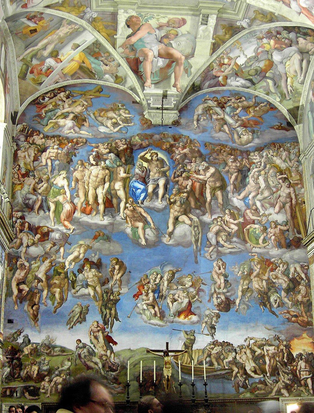 Sąd Ostateczny Źródło: Michał Anioł, Sąd Ostateczny, od 1536 do 1541, fresk, Kaplica Sykstyńska, domena publiczna.