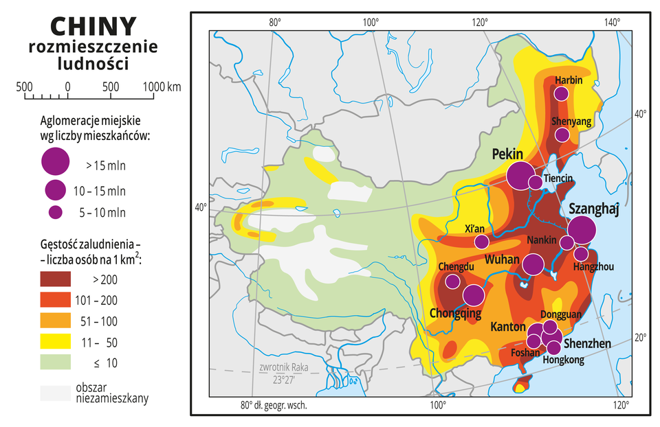 Ilustracja przedstawia mapę rozmieszczenia ludności Chinach. Kolorami od zielonego przez żółty ipomarańczowy do czerwonego ibrunatnego przedstawiono gęstość zaludnienia. Na zachodzie przeważa kolor zielony (poniżej dziesięciu osób na jeden kilometr kwadratowy), wcentrum pojawia się kolor żółty (jedenaście do pięćdziesięciu osób na jeden kilometr kwadratowy). Wokół miast skupionych na wschodnim wybrzeżu kolor pomarańczowy do brunatnego, oznaczający dużą gęstość zaludnienia – powyżej pięćdziesięciu osób na kilometr kwadratowy. Na mapie różnej wielkości sygnatury (koła) obrazujące aglomeracje miejskie według liczby mieszkańców: Szanghaj, Pekin – powyżej piętnastu milionów mieszkańców. Wuhan, Chongqing, Shenzhen, Kanton – od dziesięciu do piętnastu milionów mieszkańców. Kilka mniejszych sygnatur oznaczających miasta oliczbie mieszkańców poniżej dziesięciu milionów. Dookoła mapy wbiałej ramce opisano współrzędne geograficzne co dwadzieścia stopni. Wlegendzie umieszczono iopisano kolory iznaki użyte na mapie.