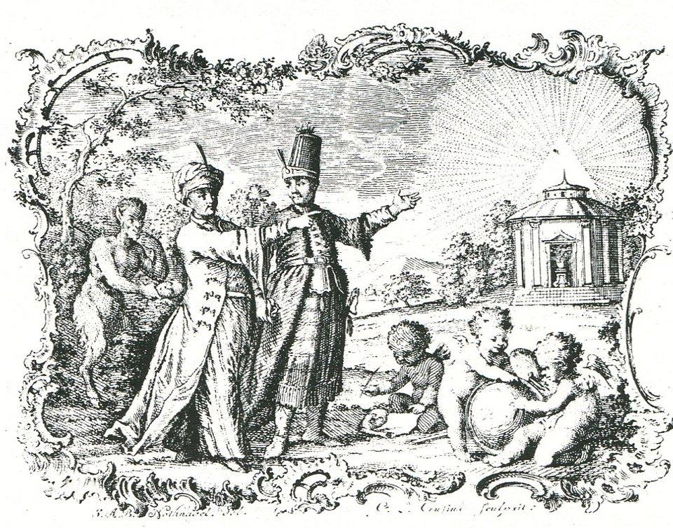 """Ilustracja do pierwszego wydania """"Listów Perskich"""" Ilustracja do pierwszego wydania """"Listów Perskich"""" Źródło: Montesquieu, 1759, domena publiczna."""