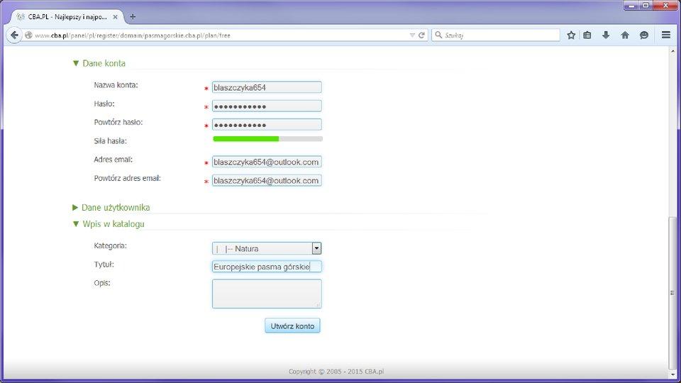 Ilustracja przykładowego formularza rezerwacji nazwy domenowej