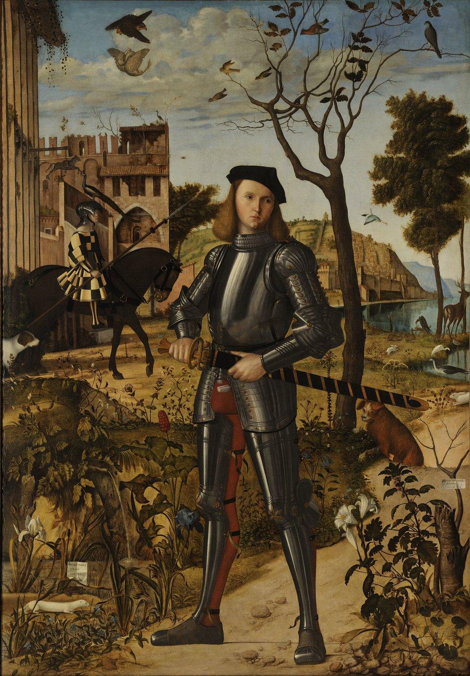 Młody rycerz na tle pejzażu Źródło: Vittore Carpaccio, Młody rycerz na tle pejzażu, 1510, olej na płótnie, Muzeum Thyssen-Bornemisza, domena publiczna.